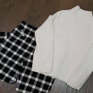 Gap Plaid Pants and Knitted Sweater